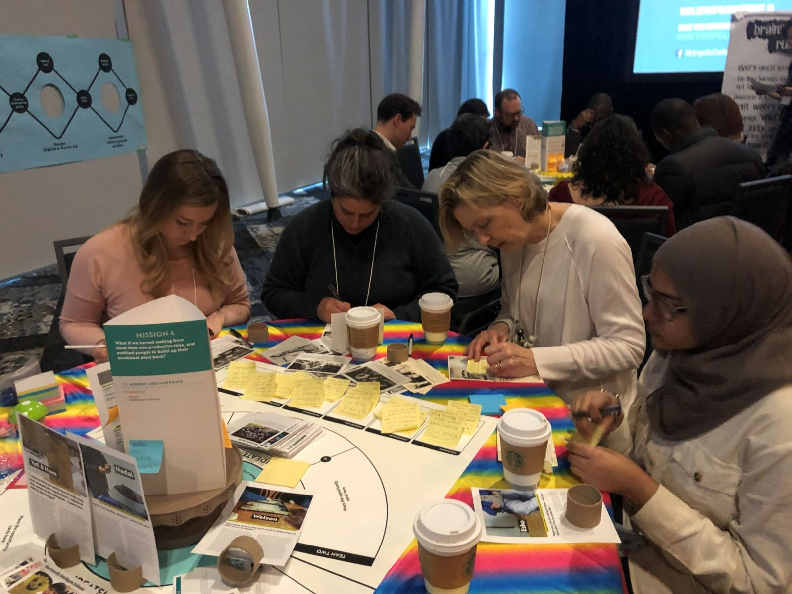 A group sits around a table covered in a rainbow cloth with a board game atop, writing on post-its, surrounded by coffee cups