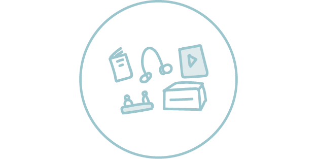 Illustration of items for loan: Book, headphones, video, content boxes