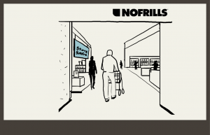 Man walking into nofrills supermarket, to his left is the Store for more - store in store.