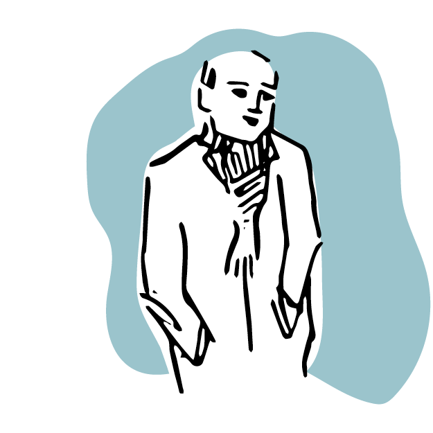 Illustrated Man - Wearing a scarf, on a blue background