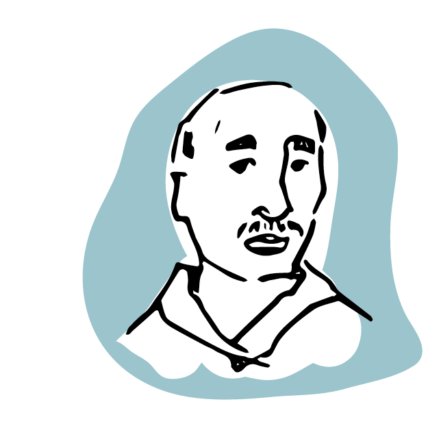 Illustrated Man with a mustache- On a blue background