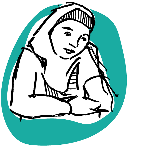 Illustration of young woman wearing a head-scarf