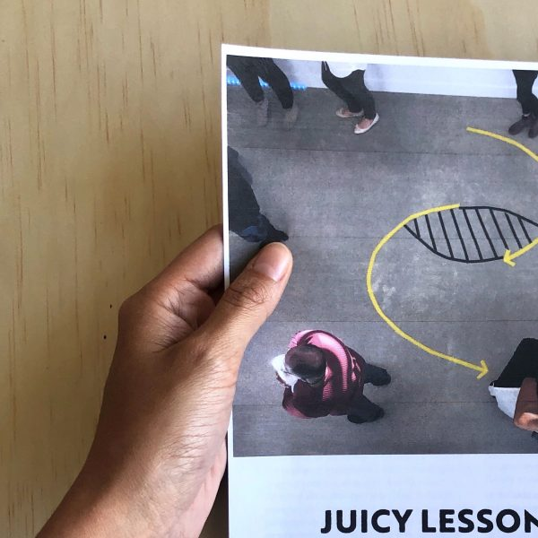 Hand holding printed version of Juicy Lessons from the Field