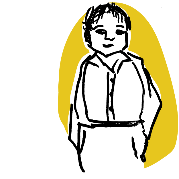 Illustrated man on a yellow background