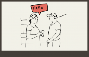 woman saying hello to a new neighbour in her community with the help of her phone