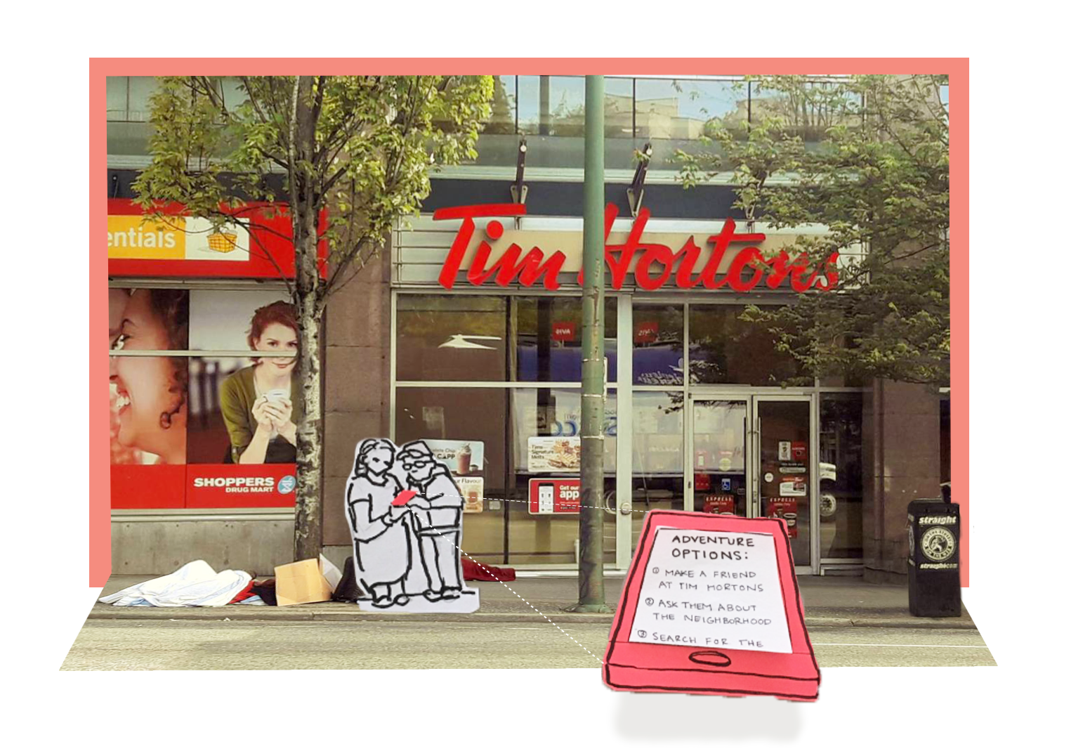 """Popup-scene Two people in front of a Tim Hortons. Their phone screen reads: """"Adventure Options 1. Make a friend at Tim Hortons 2. Ask them about the neighbourhood 3.search for the...(message is cut off)"""