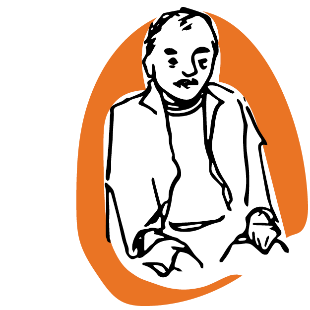 Illustration of a man wearing a jacket on an orange background