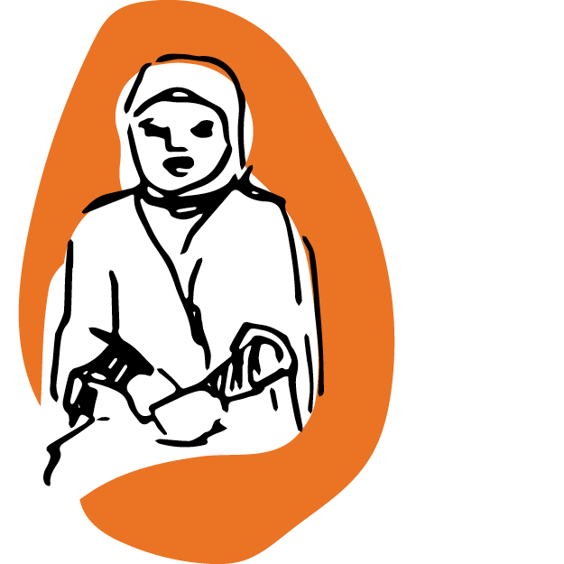 Illustration of a woman wearing a headscarf on an orange background