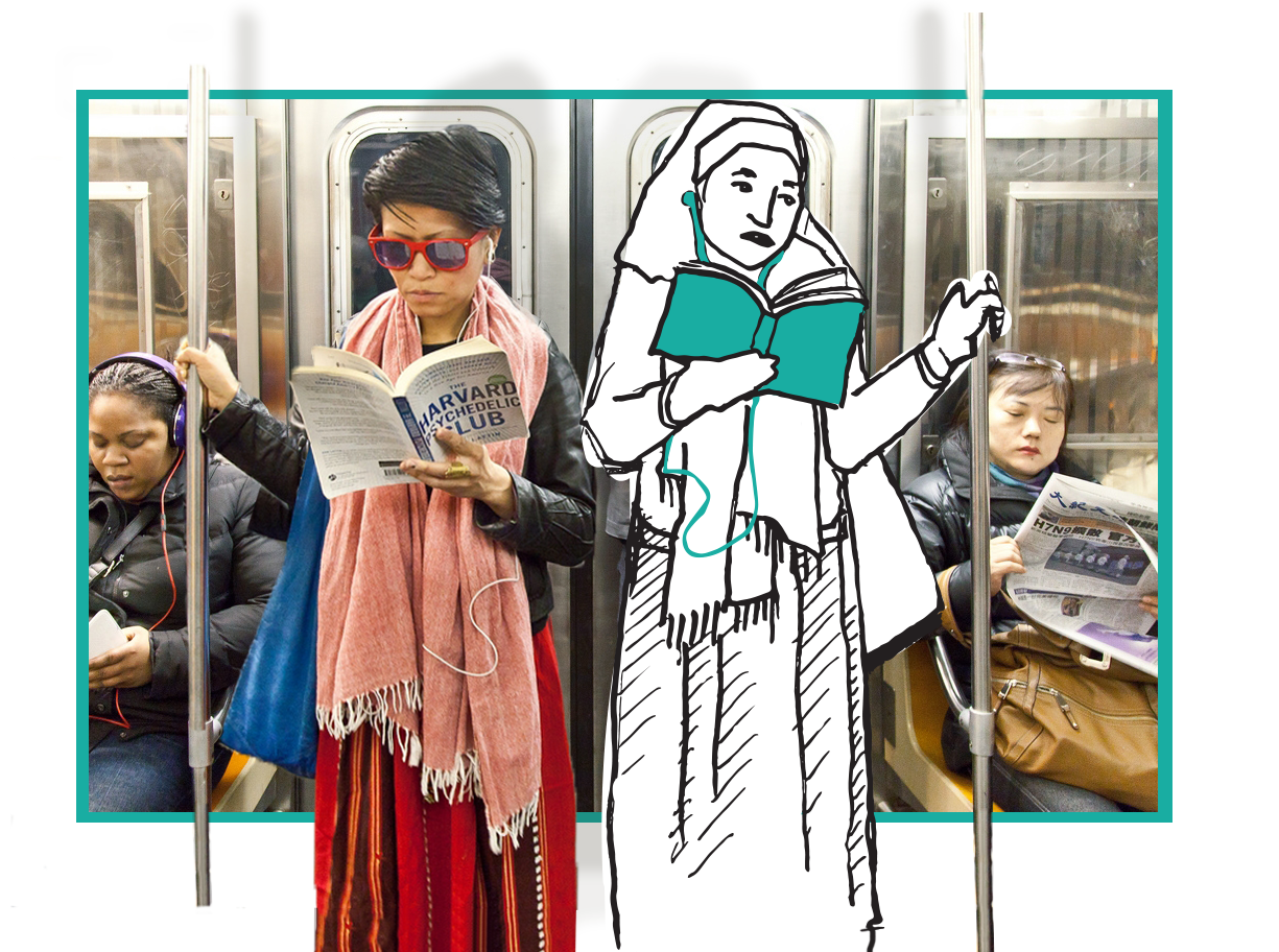 Scene on the subway, Two women are featured forwards. One woman wearing a headscarf is an illustration, She is reading a book and listening to content suggested by the emotions library