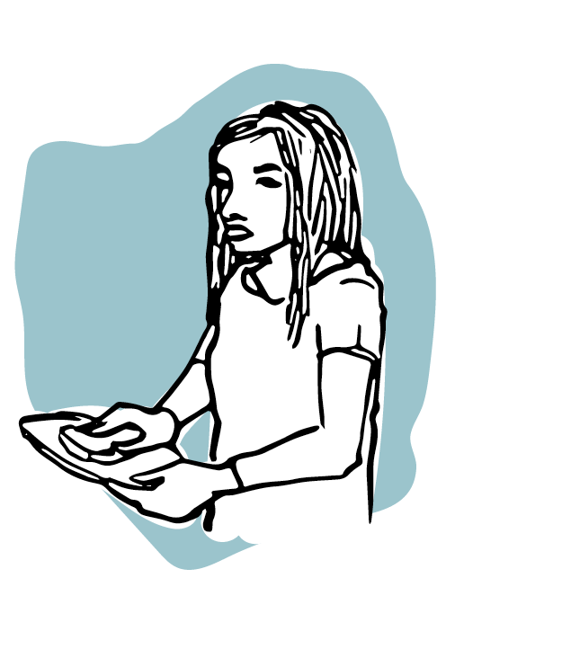 Illustrated woman with long hair - Carrying a tray - On a blue background