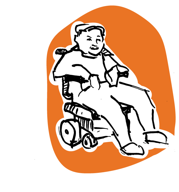 Illustration of a man in a wheelchair on an orange background