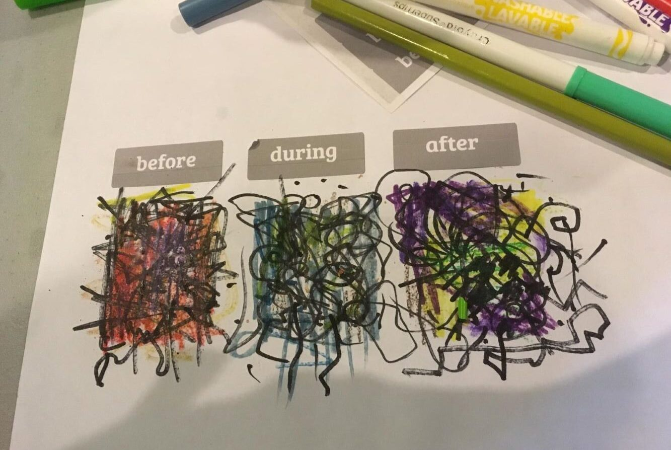 Rose's drawing of life before, during, and after hospitalization is made up of a tangle of black squiggles against deep red, blue, and purple backgrounds